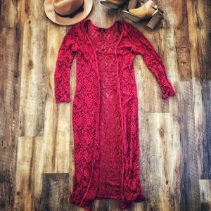 Boho Lace Red Duster Cardigan sz L